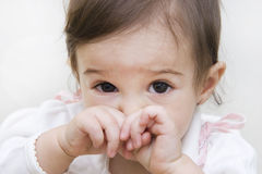 Little girl crying. Portrait of a little  baby girl crying Stock Photos