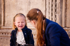 Little girl crying. Portrait of cute little girl crying Royalty Free Stock Photo