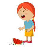Little girl crying dropped slice of watermelon Stock Photos