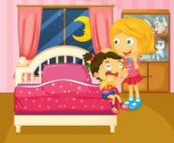 A little girl crying beside her sister inside the room. Illustration of a little girl crying beside her sister inside the room Stock Image