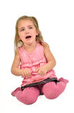 Little Girl is Crying. Isolated on White Stock Photos