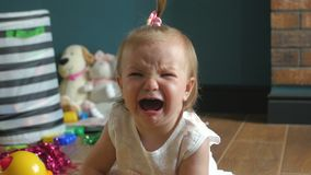 A little girl is crying. A little girl crying 4K stock video