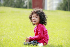 Little girl crying outdoor Royalty Free Stock Image