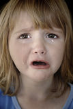 Little Girl Crying with Tears. Portrait of little girl crying with tears rolling down her cheeks Royalty Free Stock Photo