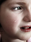 Little Girl Crying with Tears. Portrait of little girl crying with tears rolling down her cheeks Royalty Free Stock Photos