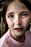 Little Girl Crying with Tears. Portrait of little girl crying with tears rolling down her cheeks Stock Image
