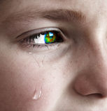 Little Girl Crying with Tears Stock Image