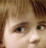 Little Girl Crying with Tears. Portrait of little girl crying with tears rolling down her cheeks Stock Images
