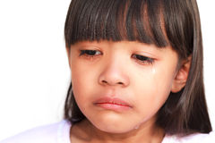 Little girl crying with tears. Rolling down her cheeks Stock Images