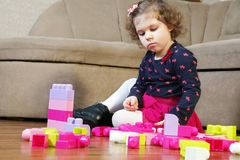 The little girl and cubes Royalty Free Stock Photo