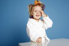 Little girl with curler portrait Royalty Free Stock Photos