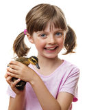 Little girl with a cute duckling Royalty Free Stock Photo