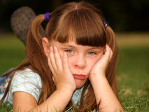 Little Girl Cute Pouty Face. Sad and pouting cute little girl Royalty Free Stock Photography