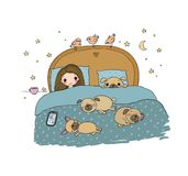 A little girl and cute pugs are sleeping on the bed. stock illustration