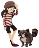 Little girl and cute racoon Royalty Free Stock Photography