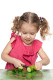 Little girl cuts cucumber Royalty Free Stock Photography