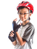 Little Girl With Cycling Attire IX. Little Asian Malay girl with cycling helmet and attire royalty free stock image
