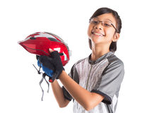 Little Girl With Cycling Attire VI. Little Asian Malay girl with cycling helmet and attire Stock Image