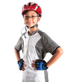 Little Girl With Cycling Attire VII. Little Asian Malay girl with cycling helmet and attire royalty free stock image