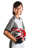 Little Girl With Cycling Attire VIII. Little Asian Malay girl with cycling helmet and attire Royalty Free Stock Photos