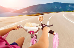 Little girl cycling Royalty Free Stock Images