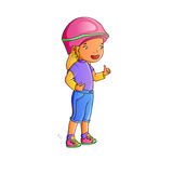 Little girl cyclist wearing helmet Stock Photo