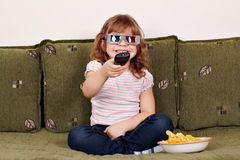Little girl with 3d glasses Stock Image
