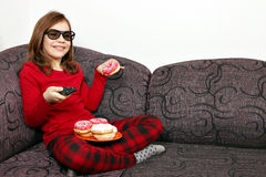 Little girl with 3d glasses watching tv Royalty Free Stock Photography