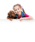 Little girl  with dachshund Royalty Free Stock Photos