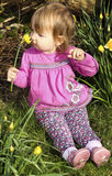 Little girl with daffodils. Little girl sitting in a clump of daffodils, smelling the flowers on a sunny spring day Stock Photo