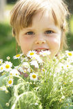 Little girl with daisies Stock Photos