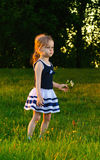 Little girl with daisies at sunset Stock Photo