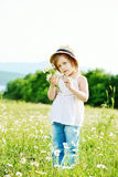 Little girl  in daisy field Royalty Free Stock Image