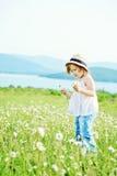 Little girl  in daisy field Stock Image