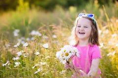 Little girl in daisy flower field Stock Photos