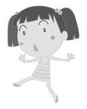 Little girl dancing alone. Illustration Royalty Free Stock Image