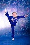 Little girl dancing in the blue costume Stock Photography