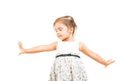 Little girl dancing with closed eyes  Royalty Free Stock Image