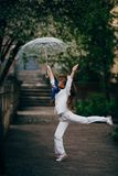 Little girl dancing with lace ambrella Royalty Free Stock Photography
