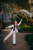 Little girl dancing with lace ambrella Royalty Free Stock Image
