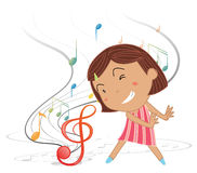 A little girl dancing with musical notes Royalty Free Stock Photo