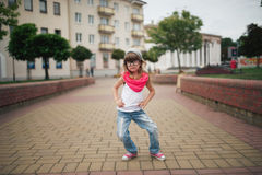 Little girl dancing on the street Stock Photography