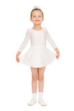 Little girl dancing in white ball gown Stock Photo