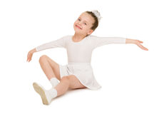 Little girl dancing in white ball gown Stock Photos