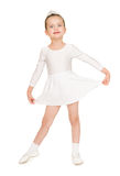 Little girl dancing in a white ball gown Royalty Free Stock Photo