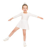Little girl dancing in a white ball gown Stock Images