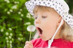 Little girl with dandelion Royalty Free Stock Photography