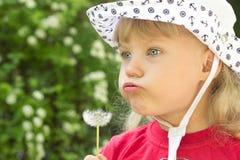 Little girl with dandelion Stock Image