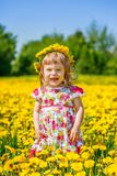 Little girl on the dandelion field Royalty Free Stock Photos