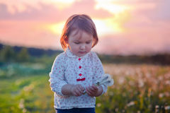 Little girl with dandelion Royalty Free Stock Images